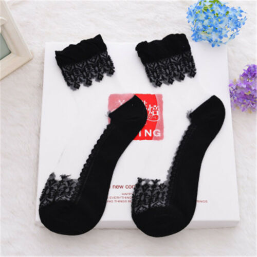 Women Short Calcetines Glass Socks Dance Socks Lace Crystal Socks Transparent