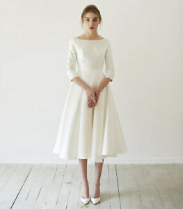 Details about Short 3/4 Sleeves Satin Wedding