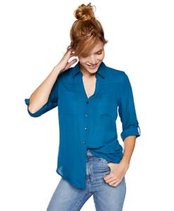A-Byer-Women-039-s-Chiffon-Tab-Sleeve-Top-Teal-Size-Medium