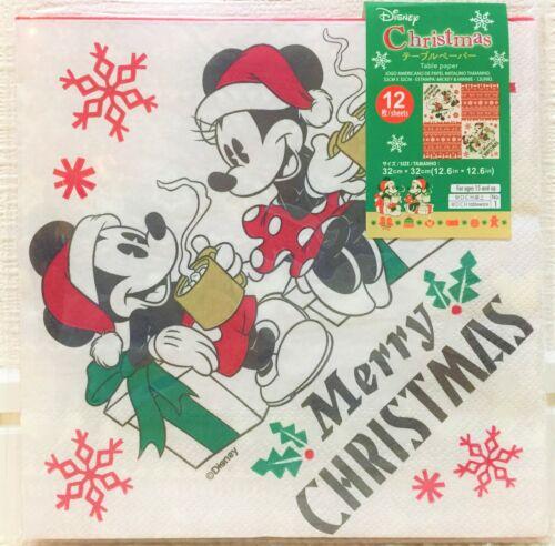 Love Cute Disney Merry Christmas Paper Napkin 12 Mickey Minnie Mouse DAISO JAPAN