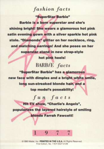 """Barbie Collectible Fashion Trading Card  /"""" SuperStar Barbie /""""  Evening Gown 1977"""