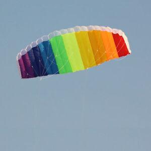 2m-Rainbow-Dual-Line-Stunt-Parachute-Parafoil-Sport-Kite-LD370