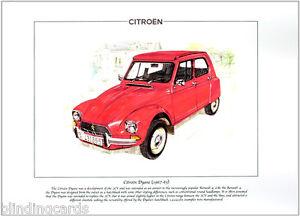 CITROEN-DYANE-1967-83-Fine-Art-Print-A4-Classic-French-automobile-2CV-Ami