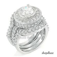 4.95 CT Halo 圓形切割 .925 純銀婚禮戒指套裝,女式,尺寸 4-11