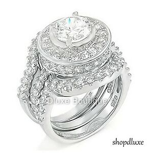 495 CT HALO ROUND CUT 925 STERLING SILVER WEDDING RING SET WOMENS