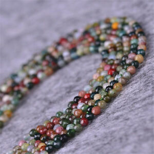 8MM INDIAN AGATE GEMSTONE ROUND LOOSE BEADS 15/""