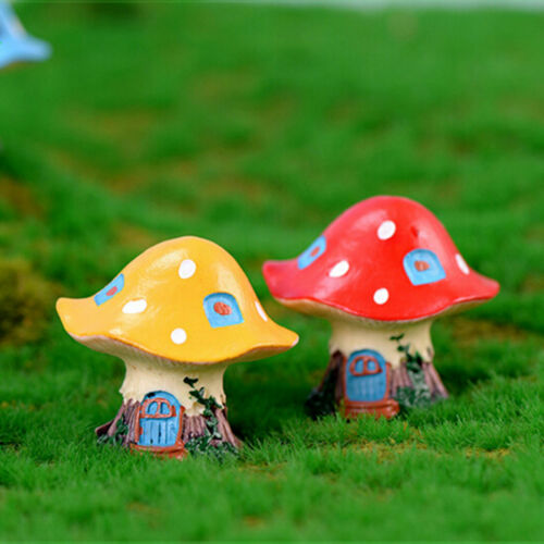 Mushroom house Miniatures For Fairy Garden Gnomes Moss Terrariums Decor S/&K