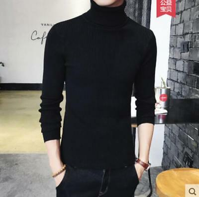 Fashion Men High Collar Woolen Sweater Pullover Slim Thick Warm Undershirt Sbox1