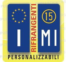 2 ADESIVI TARGA EUROPEA, AUTO, CAMION CON SIGLA, ANNO E PROVINCIA, STEMMA,TUNING