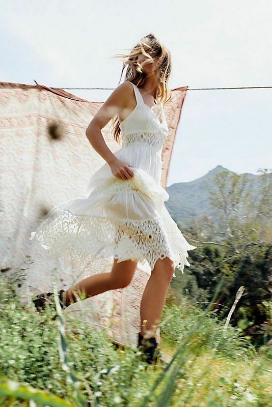 NWT Free People Größe 4 Small Antique Weiß Caught Your Eye Crochet Maxi Dress