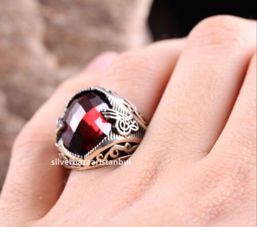 Turkish Handmade 925 Sterling Silver red ruby stone Mens ring ALL SİZE us 371