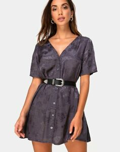 MOTEL-ROCKS-Crosena-Swing-Dress-in-Satin-Rose-Grey-Size-Large-L-mr101