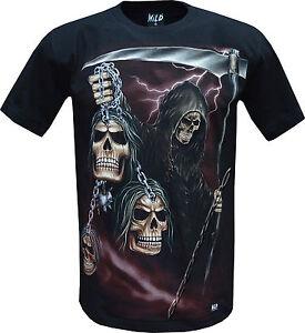 Grim Reaper Glow In Dark Skull Chains Tattoo Goth T Shirt Front
