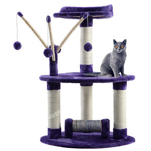 Medium-Cat-Tree-Activity-Centre-Sisal-Scratcher-Scratching-Post-Toys-Bed-Purple