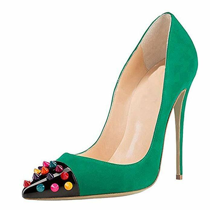 Womens Pointed Toe shoes High Stiletto Heels Stud Decorate Toe Slip On Pumps NEW