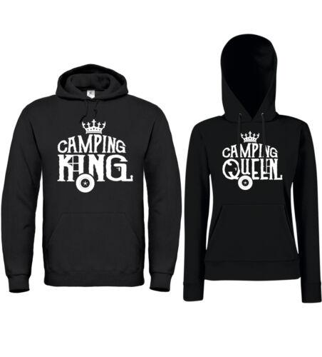 CAMPING KING QUEEN Partner Hoodies Camper Zelten Campingplatz  Wohnwagen Fun