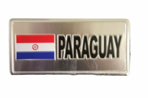 PARAGUAY COUNTRY FLAG-SILVER LICENSED STICKER FLAG PLATE..SIZE 6 X 3 INCH