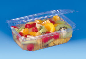 A-pack-of-25-750cc-CLEAR-PLASTIC-DISPOSABLE-SALAD-BOWLS-WITH-HINGED-LIDS