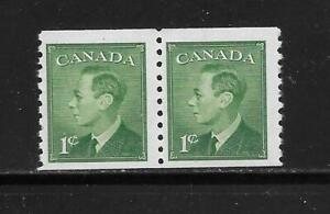 """CANADA KING GEORGE VI """"POSTE--POSTAGE"""" OMITTED 1 CENT COIL PAIR # 295"""