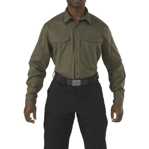 5.11 STRYKE TACTICAL MENS MILITARY UNIFORM SHIRT LONG SLEEVE RIPSTOP TOP TUNDRA