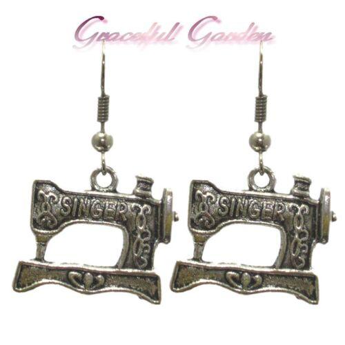 ER2507 Graceful Garden Vintage Style Singer Sewing Machine Dangle Charm Earrings