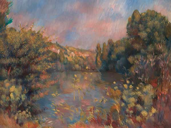 Pierre-Auguste Reschwarz  Lakeside Landscape Keilrahmen-Bild Leinwand Landschaft