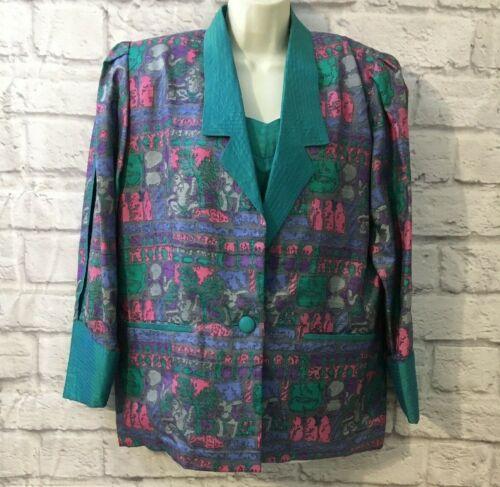 VTG 80s 3pc suit 100% SILK Flowy Lounge Pant Suit