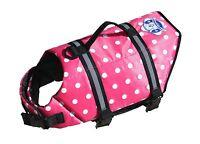 Paws Aboard Pink Polka Dot Dog Doggy Pet Life Vest Jacket Xxs - Lg Boat Pool