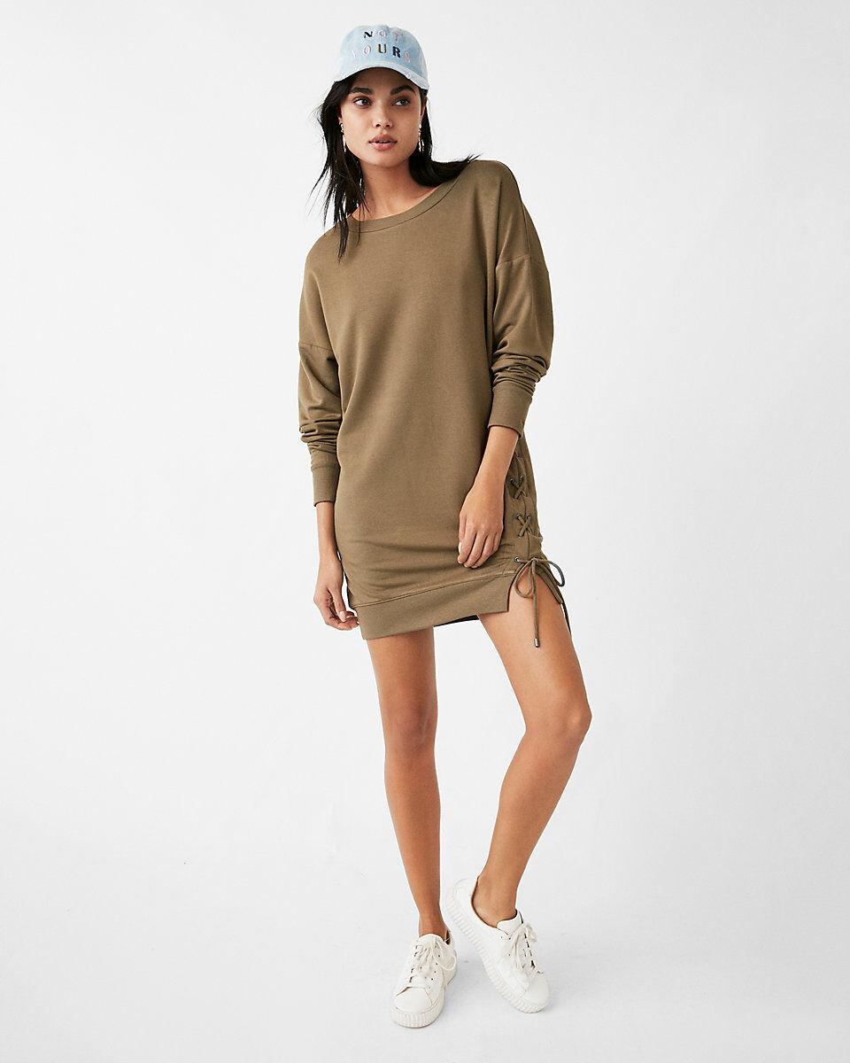 Express One Eleven Lace-Up Sweatshirt Dress XS