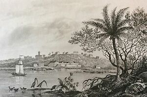 Brasil-Brazil-Town-and-Castle-of-Frederyca-Parayba-Engraving-on-Steel-of-1838