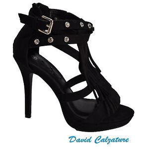 Scarpe da donna sandali con tacchi alti e plateau strass neri 37 38 40 spuntati