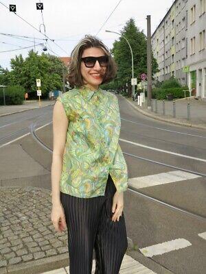Damenbluse 44 ärmelos Grüntöne Pastell 70er Truevintage 70s Women's Blouse Top Perfekte Verarbeitung