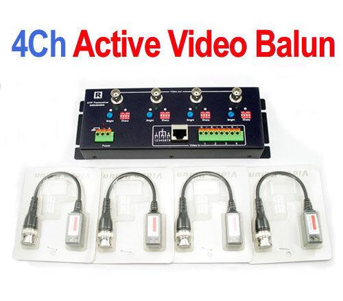 4ch activo receptor + transmisor De Video Balun Bnc Coaxial A Utp Cat5 Cámara Cctv