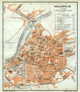 Map Of Spain Valladolid.Details About Valladolid Town Plan Spain Baedeker 1913 Old Map