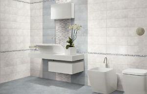Piastrelle ceramica pavimento rivestimento bagno moderno regina azzurro e avorio ebay - Pavimento e rivestimento bagno uguale ...