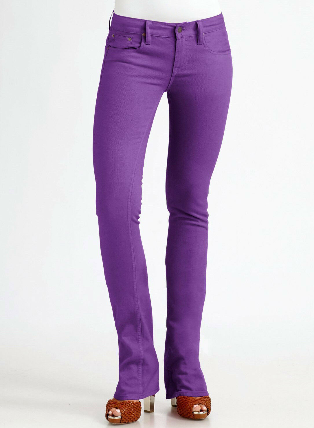 NWT 245 RALPH LAUREN blueE LABEL Womens  Purple Jeans 25 Stretch Slim Bootcut
