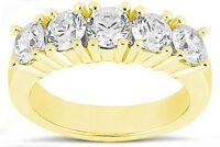 5 round DIAMOND WEDDING RING Anniversary Band 1.75 carat G-SI1 14K Yellow Gold