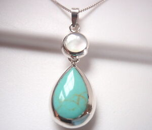 Reversible-Blue-Green-Turquoise-and-Mother-of-Pearl-925-Sterling-Silver-Pendant