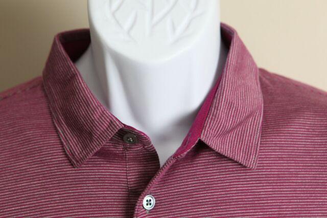 Peter Millar Collection Men's fuschia and gray short sleeve golf polo shirt L