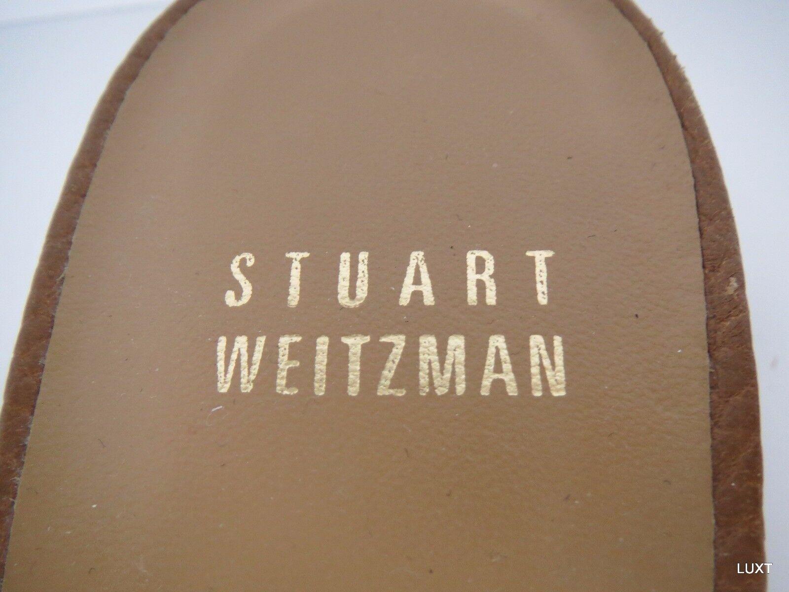Stuart Heels Weitzman Slides Tan Leder Bow Square Toe Kitten Heels Stuart Mules Work Größe 8 056c82