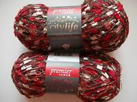 Premier City Life Trellis/ladder Yarn, Red Hot, Lot Of 2 (140 Yds Each)