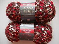 Premier City Life Trellis/ladder Yarn, Red Hot, Lot Of 2 (140 Yds Each)