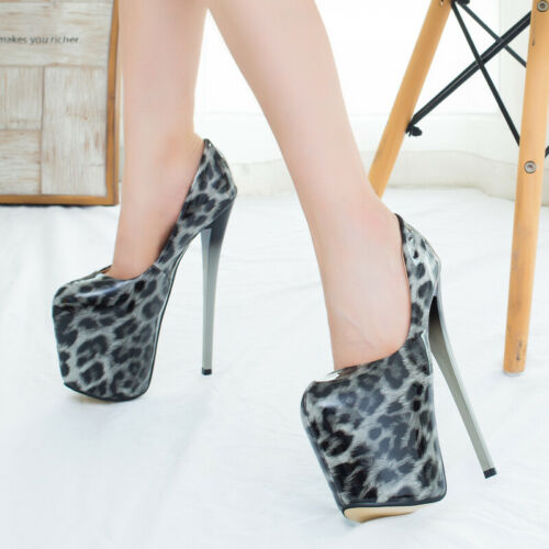 Ultra High Men/'s Pumps Drag Queen Leopard Crossdresser Heels Plus Sz Trans Shoes
