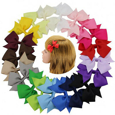 "20pcs Hair Bow 3"" Boutique Girl Baby Grosgrain Ribbon Alligator Clips Headband"