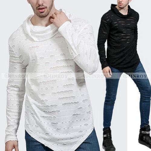 Fashion Mens Irregular Hem Long Sleeve T-Shirt Slim Hip Hip Tops Tees Blouse