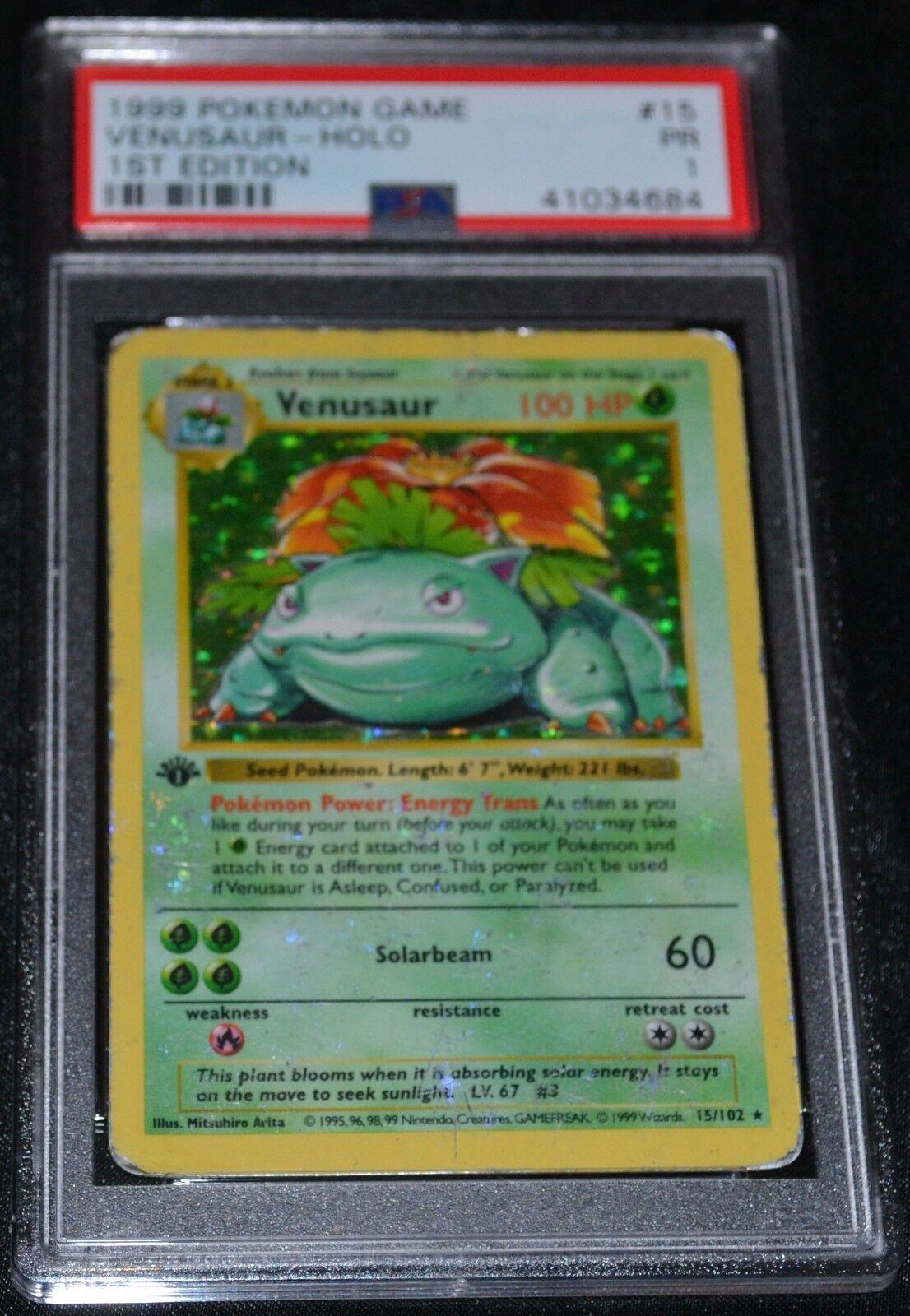 Holo Foil Venusaur  15102 1st Primera Edición Base Set tarjetas de Pokemon PSA 1 pr