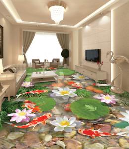 orofish Lotus 53 3D Piso Papel Pintado Mural Parojo Impresión 5D AJ Wallpaper Reino Unido Limón