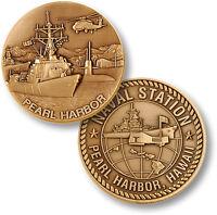 U.s. Navy - Naval Station Pearl Harbor, Hawaii - Usn Bronze Challenge Coin