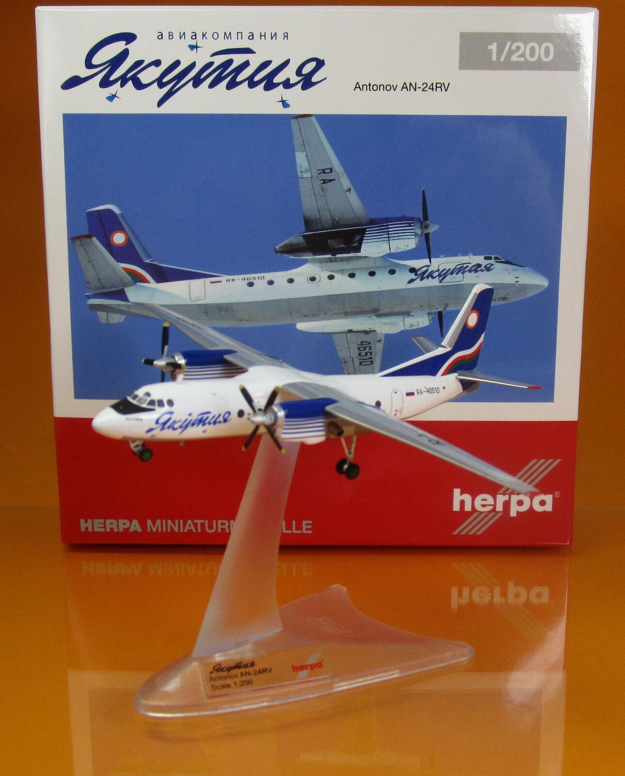 Herpa Wings 558839 Yakutia Airlines Antonov AN 24RV Reg RA 46510 Scale 1 200 NEU  | Deutschland Online Shop