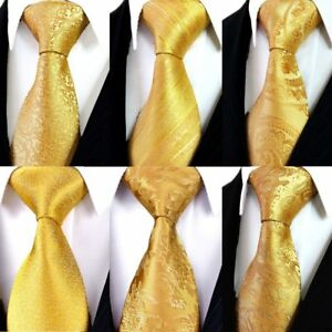 Yellow-Gold-Floral-Paisley-Neckties-100-Silk-Jacquard-Woven-Ties-For-Wedding